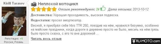 отзыв о мотоцикле irbis ttr 250