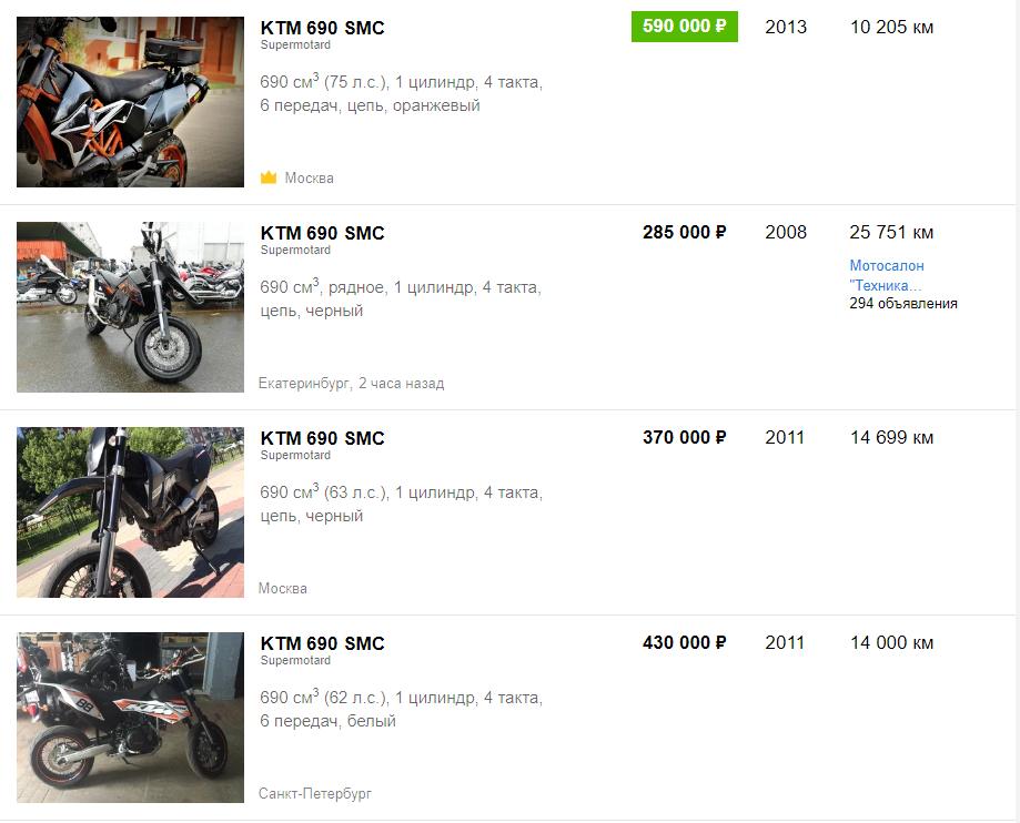 Цены на KTM 690 SMC
