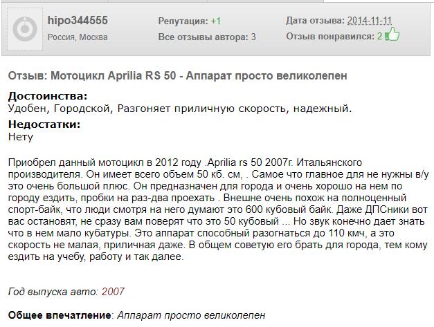 Отзыв собственника Aprilia RS 50